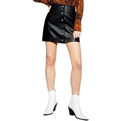 Topshop Dixie Faux Leather Miniskirt, US (fits like 0) - Black