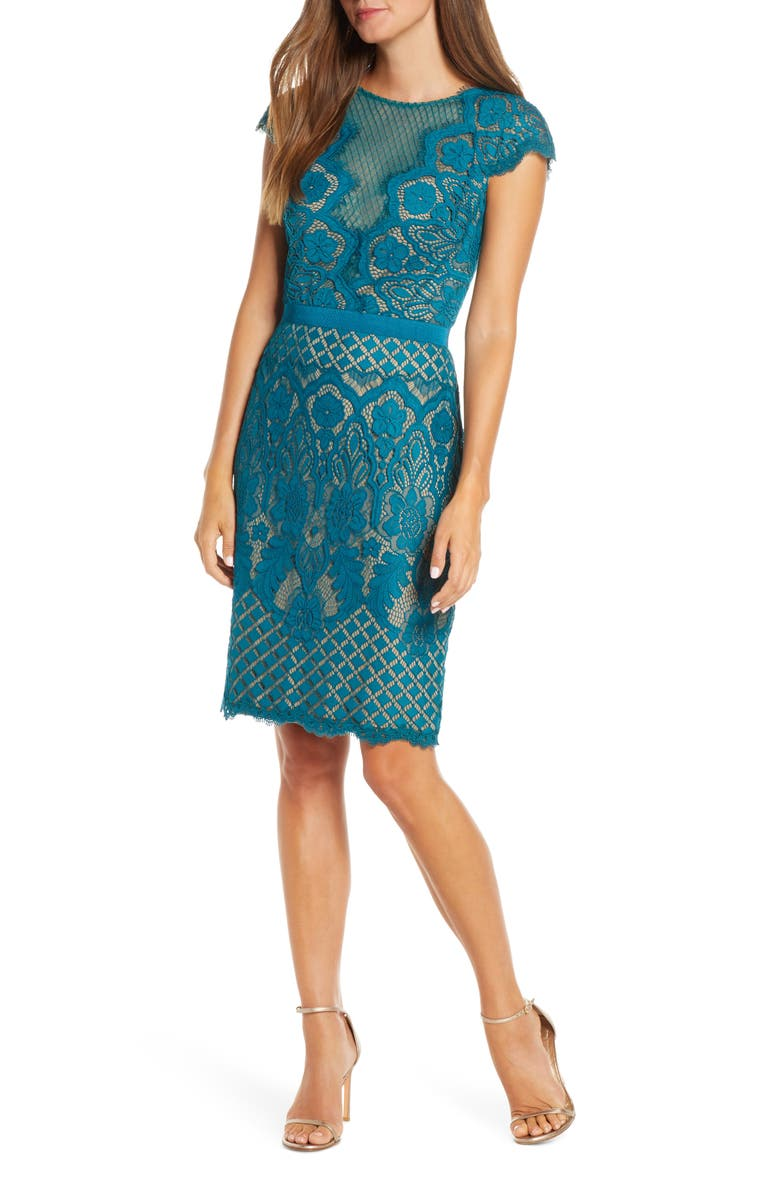 TADASHI SHOJI Lace Sheath Dress, Main, color, PINE/ NUDE