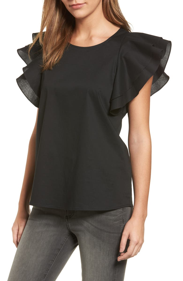 PLEIONE Double Ruffle Sleeve Blouse, Main, color, 001
