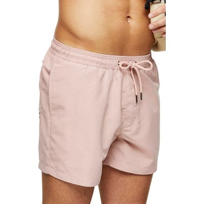 Topman Hester Solid Swim Trunks, Pink