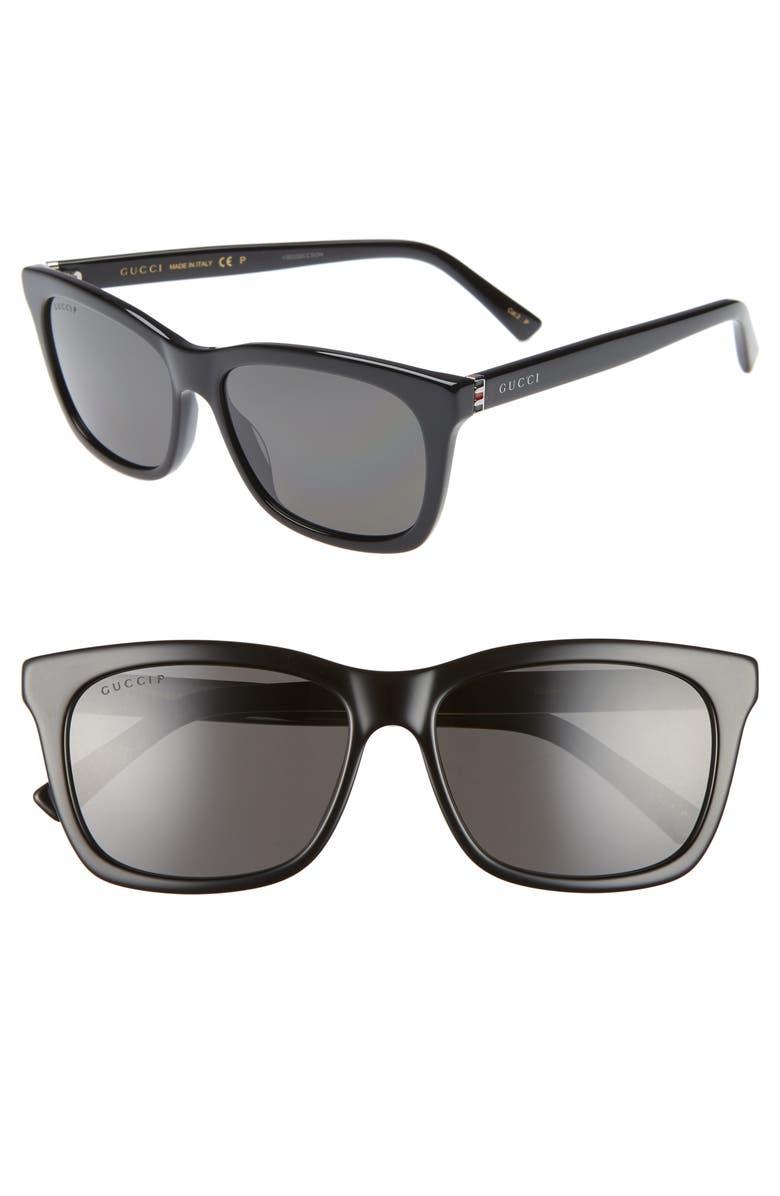 GUCCI 56mm Polarized Square Sunglasses, Main, color, BLACK/ GREY
