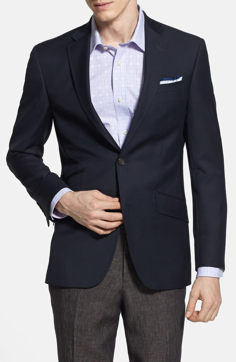 TED BAKER LONDON 'Judd' Trim Fit Navy Wool Blazer, Main, color, 410