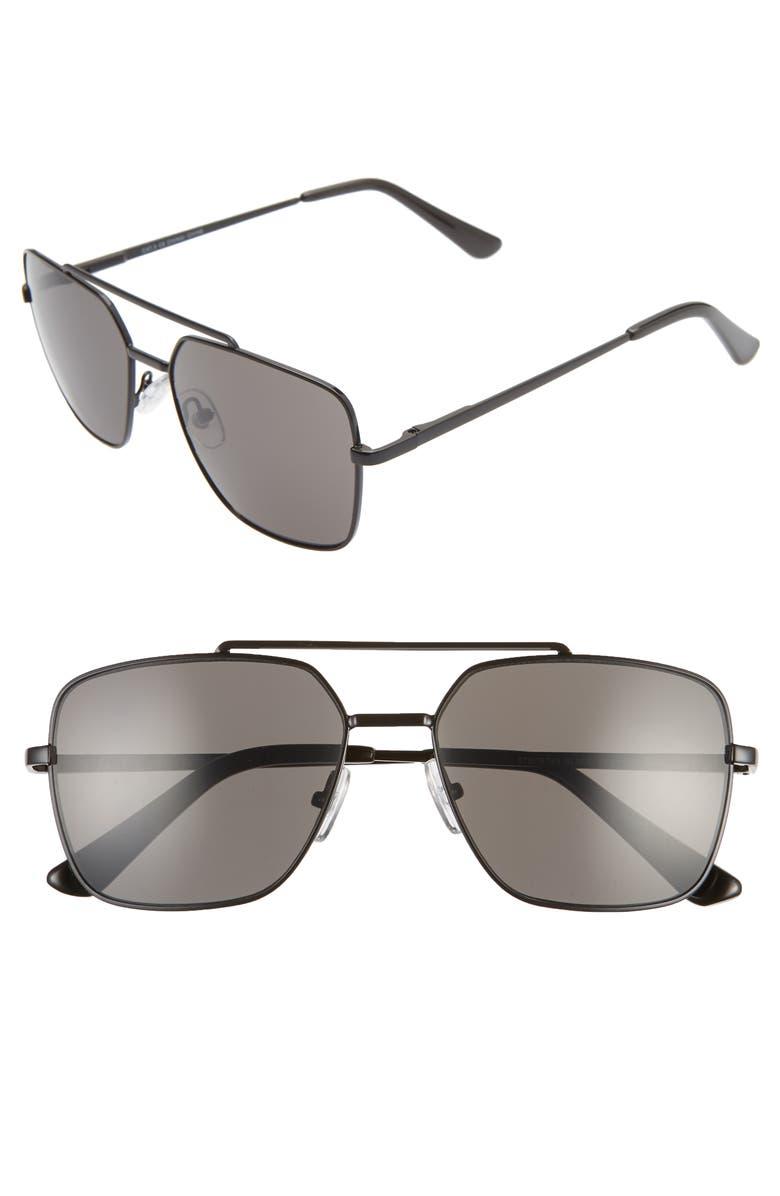 BP. Charles 57mm Navigator Sunglasses, Main, color, 001