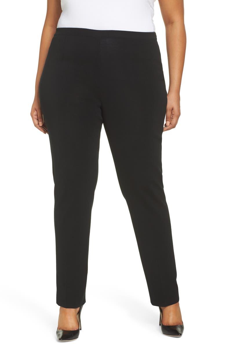 MING WANG Pull-On Pants, Main, color, BLACK