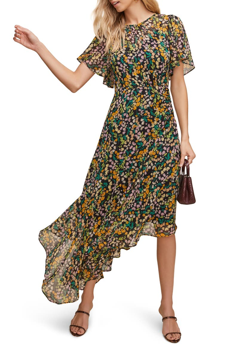 ASTR THE LABEL Floral Print Dress, Main, color, BLACK MULTI FLORAL