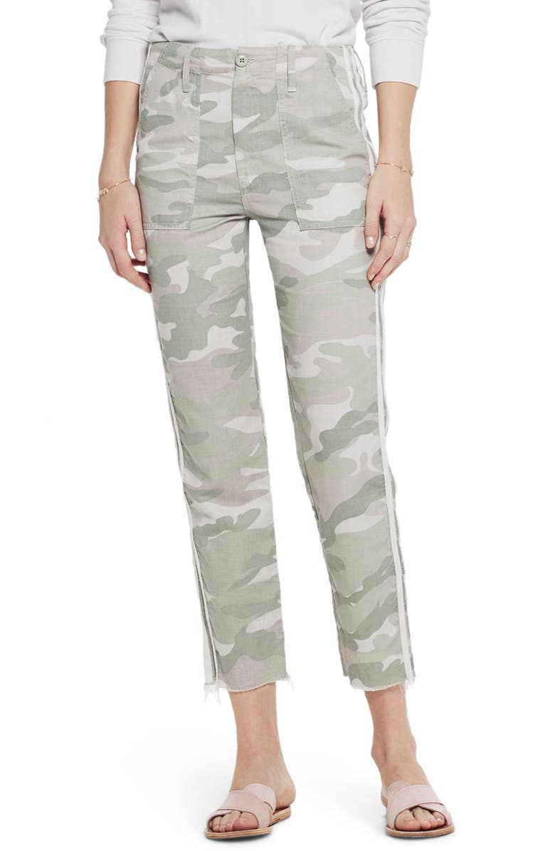 MOTHER The Shaker Chop Crop Fray Camo Pants, Main, color, 370