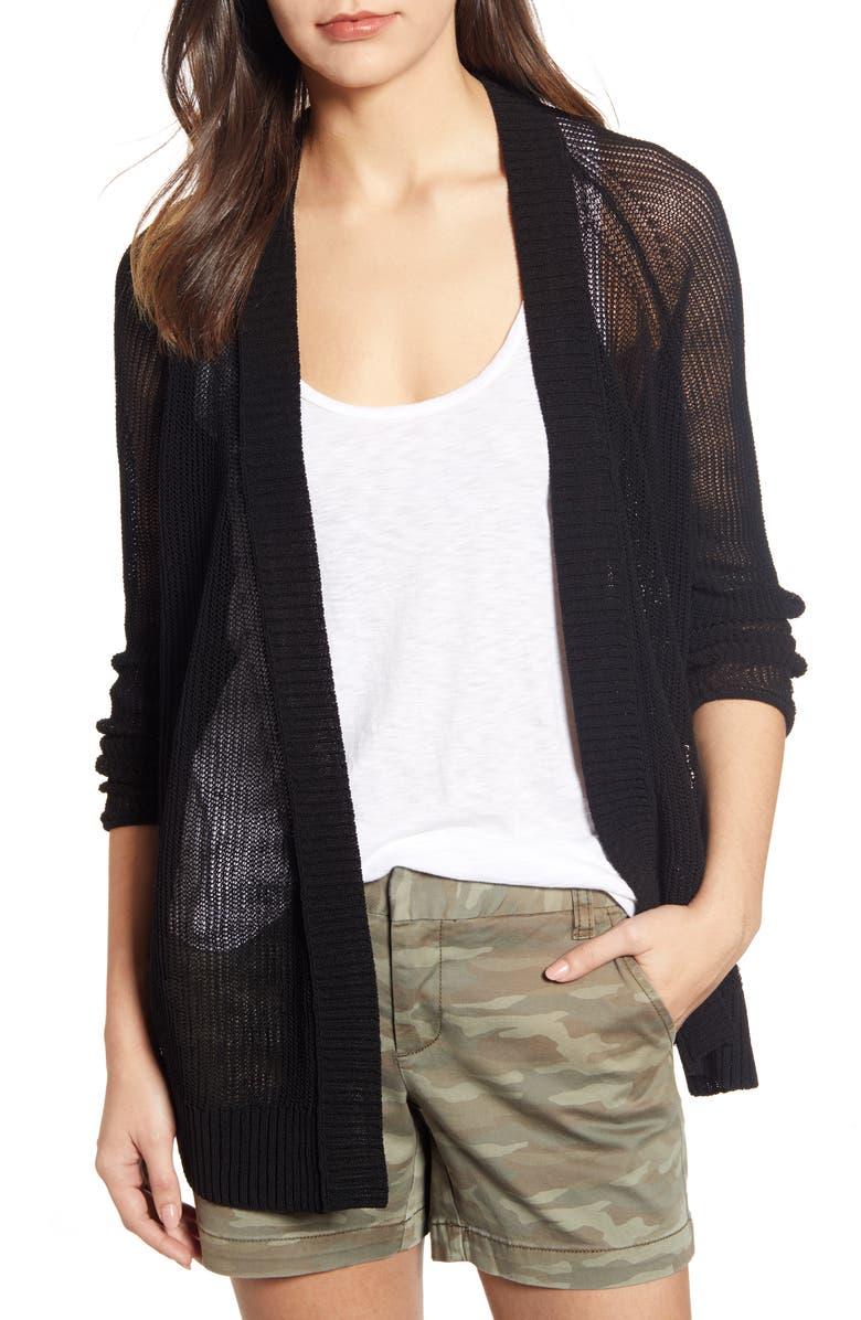 CASLON<SUP>®</SUP> Open Cotton Blend Cardigan, Main, color, 001