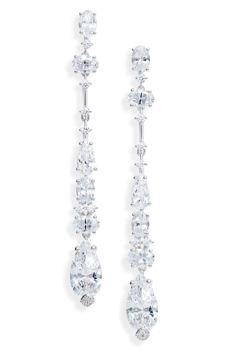 NADRI Everlasting Linear Crystal Earrings, Main, color, RHODIUM