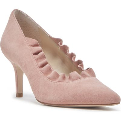 Sole Society Ruffle Trim Pointed Toe Pump, Pink