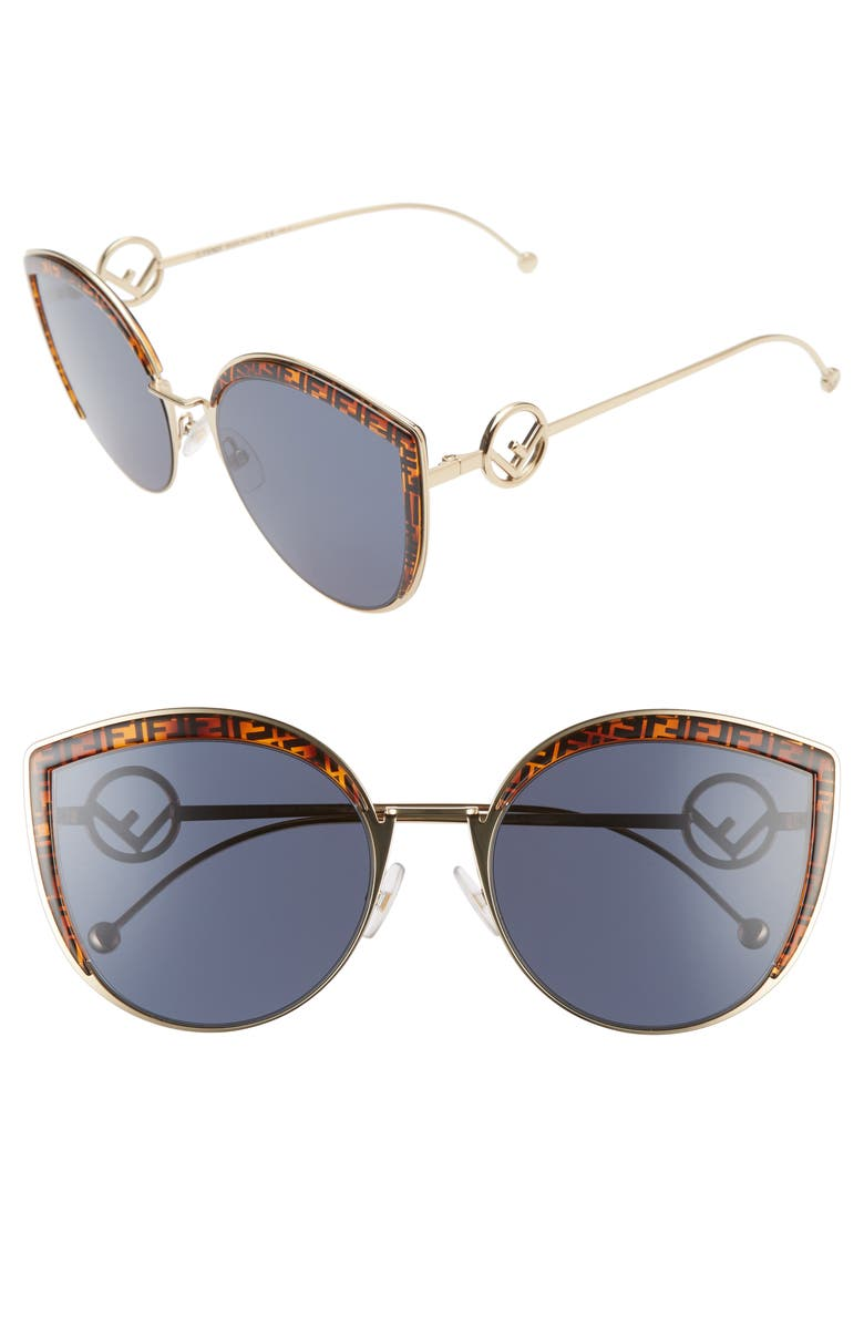 FENDI 58mm Metal Butterfly Sunglasses, Main, color, GOLD/ PATTERN/ BLUE