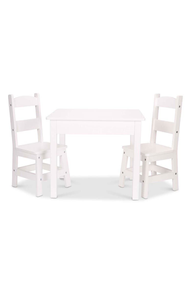MELISSA & DOUG Wooden Table & Chairs Set, Main, color, MULTI