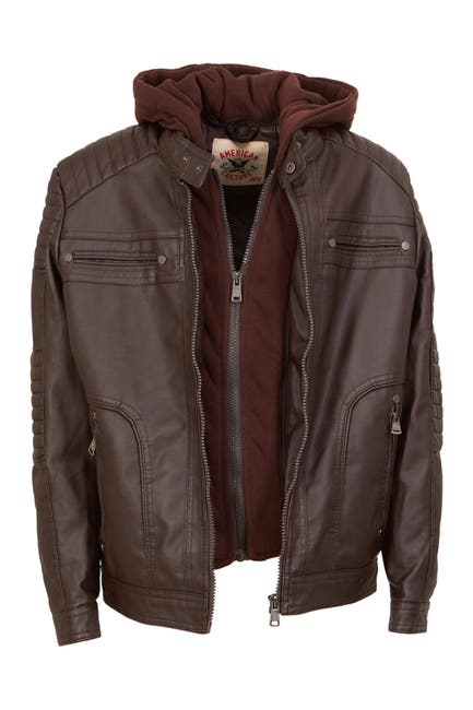 Image of AMERICAN CULTURE Zip Front Faux Leather Hooded Jacket