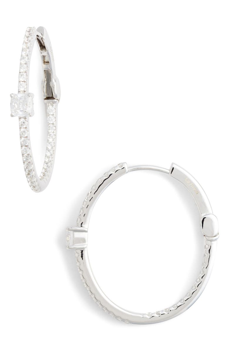 LAFONN Simulated Diamond Hoop Earrings, Main, color, SILVER/ CLEAR