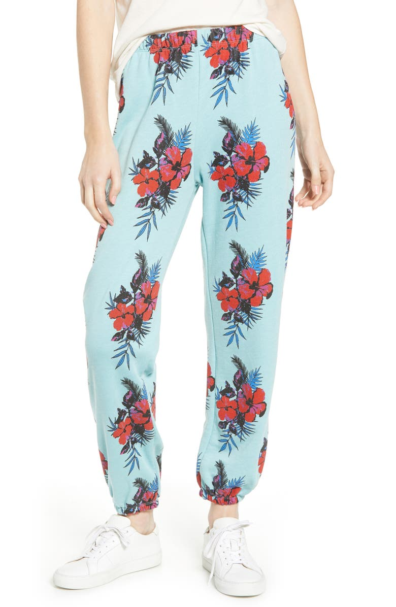 WILDFOX Hibiscus Dreams Easy Sweatpants, Main, color, GLACIER