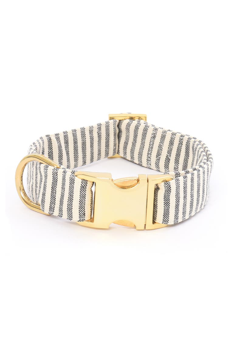 THE FOGGY DOG Charcoal Stripe Dog Collar, Main, color, CHARCOAL/ GOLD