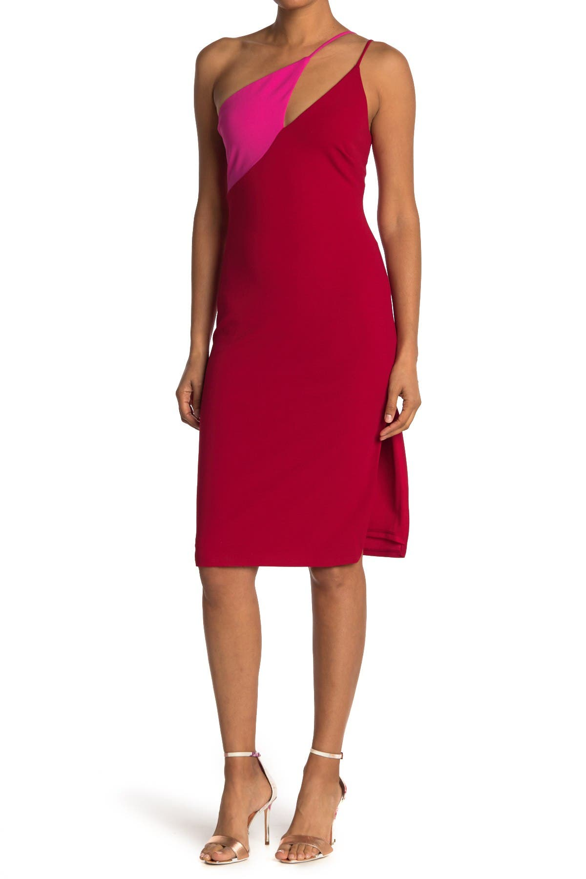 Image of bebe One Shoulder Colorblock Dress