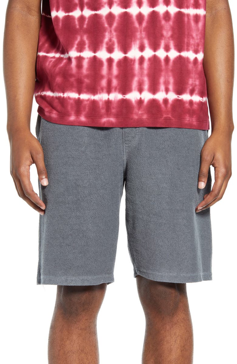 TOPMAN Terry Athletic Shorts, Main, color, GREY