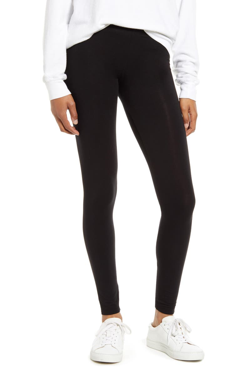 SPLENDID Stretch Cotton Leggings, Main, color, BLACK