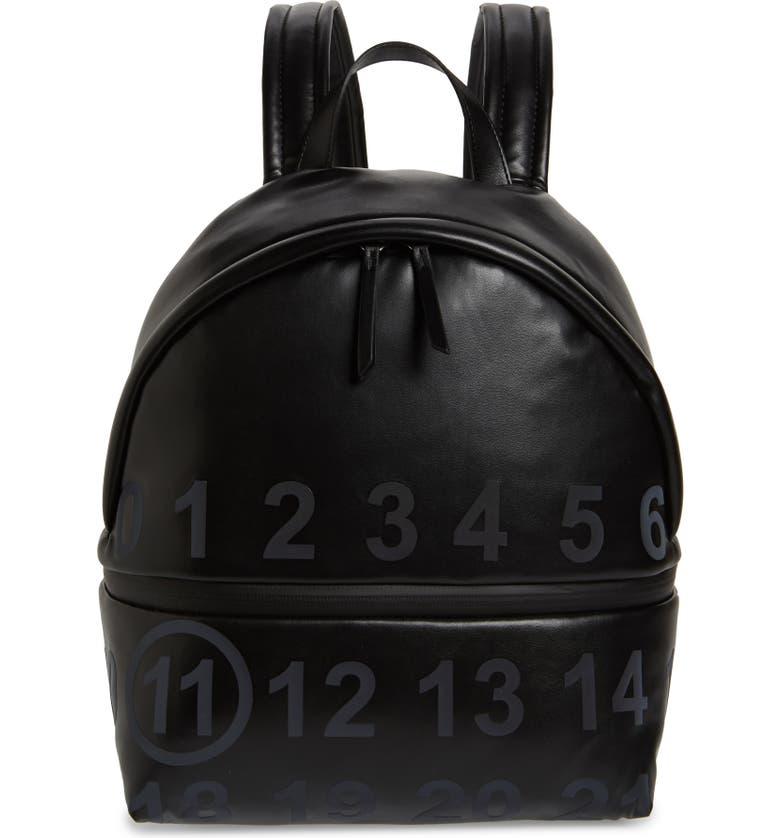 MAISON MARGIELA Medium Number Print Faux Leather Backpack, Main, color, BLACK