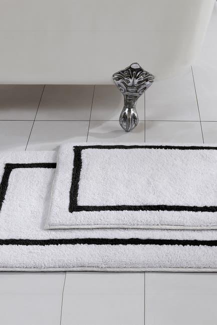 Image of Modern Threads Black Reversible Contrast Stripe Bath Mat 2-Piece Set