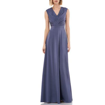 Kay Unger Pleated V-Neck Stretch Faille Gown, Blue