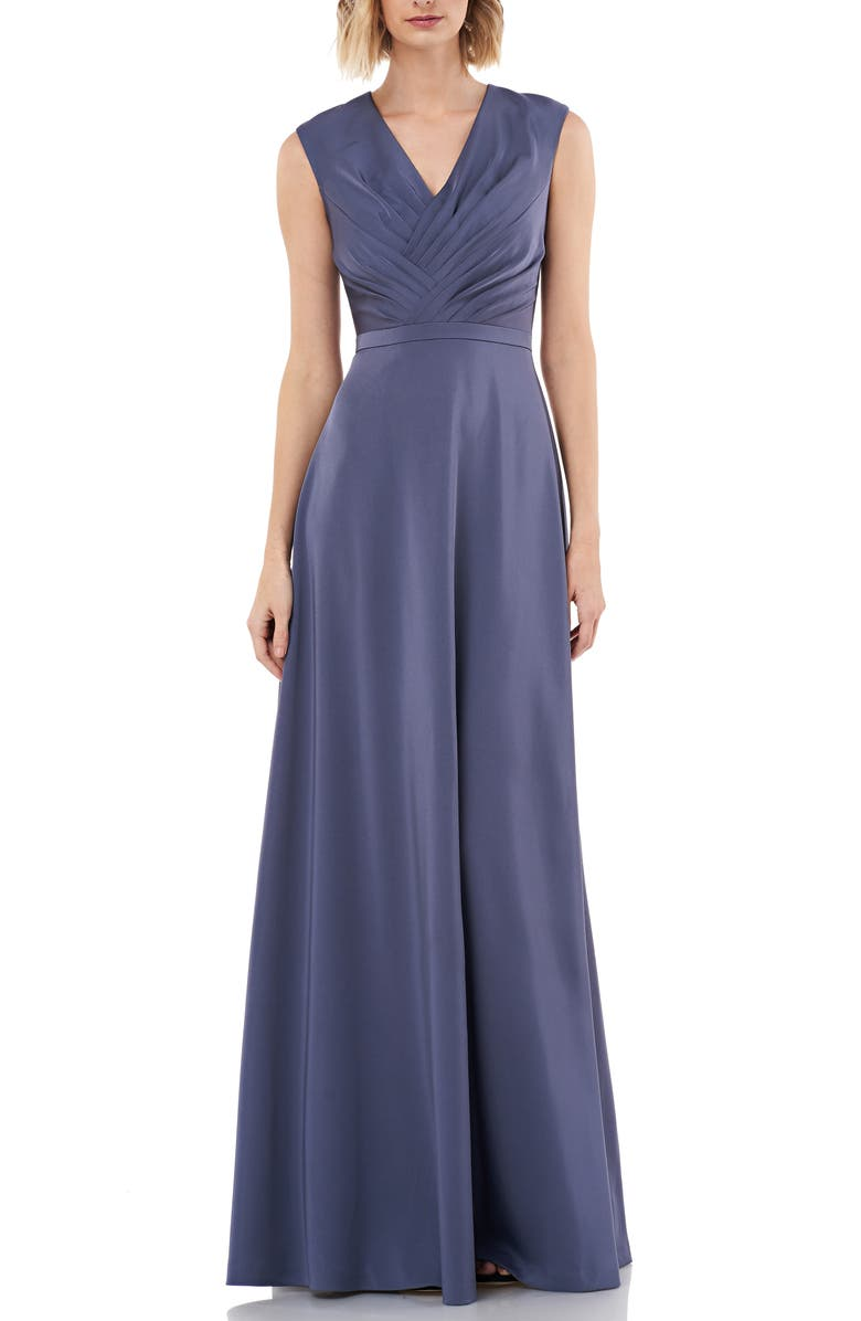 KAY UNGER Pleated V-Neck Stretch Faille Gown, Main, color, SMOKE BLUE