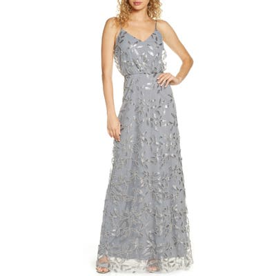 Wayf The Savannah Beaded Mesh Blouson Gown, Grey