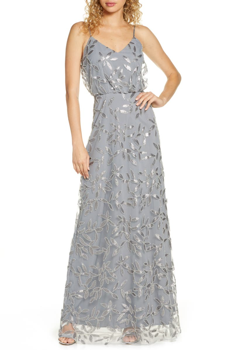 WAYF The Savannah Blouson Beaded Mesh Evening Dress, Main, color, 020