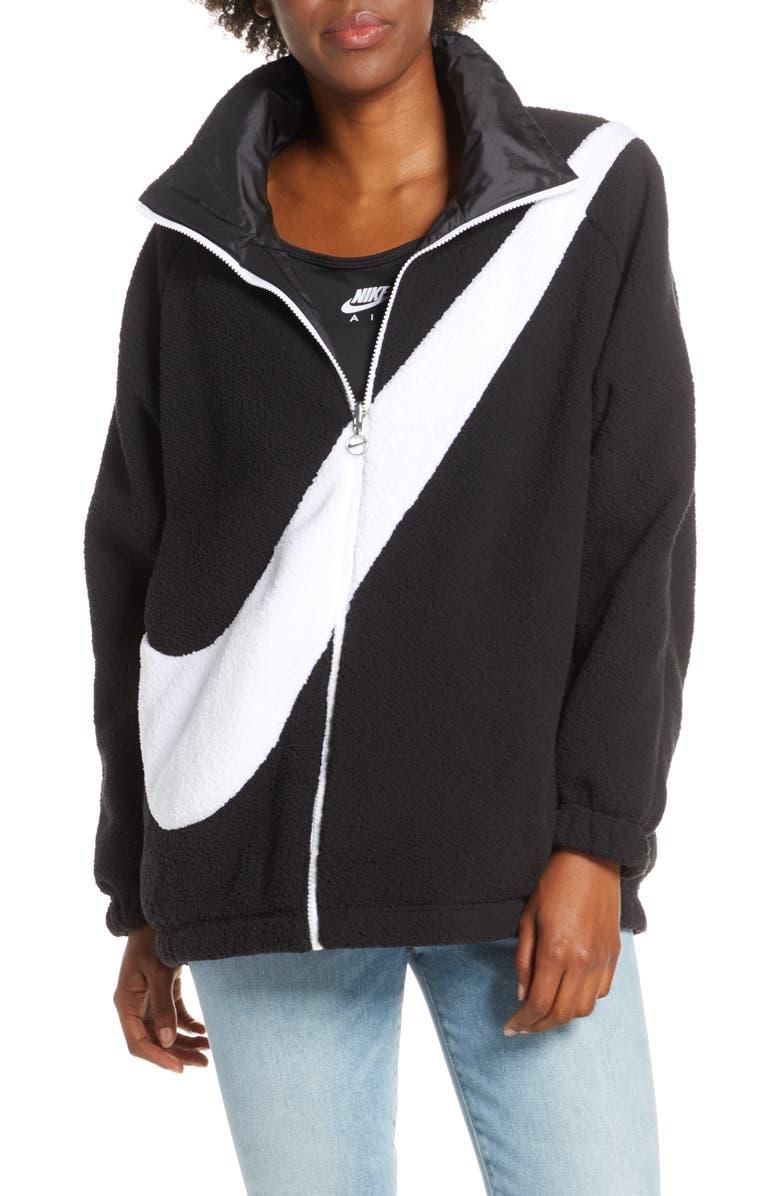 NIKE Sportswear Swoosh Reversible Faux Shearling Jacket, Main, color, BLACK/ WHITE