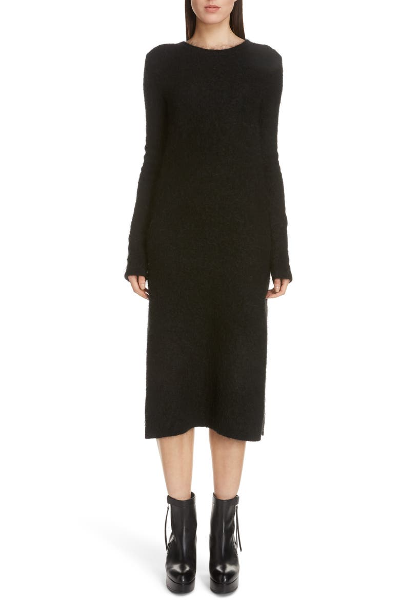ACNE STUDIOS Kathilde Long Sleeve Midi Sweater Dress, Main, color, BLACK