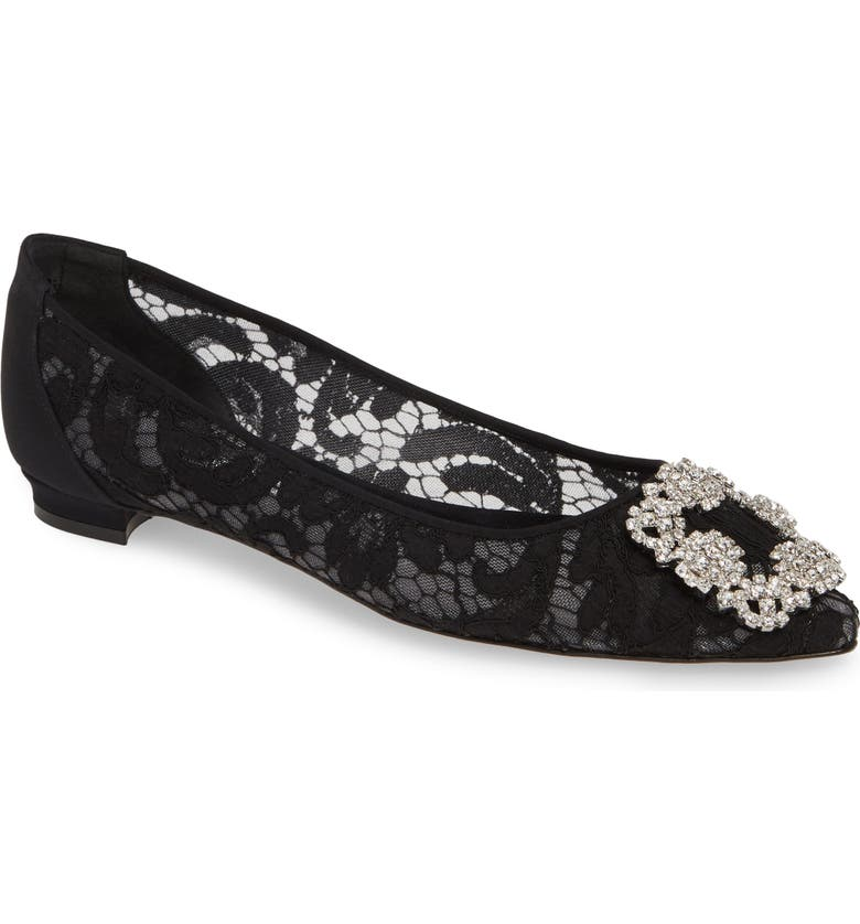 MANOLO BLAHNIK 'Hangisilala' Jeweled Pointy Toe Lace Flat, Main, color, BLACK LACE/ CLEAR