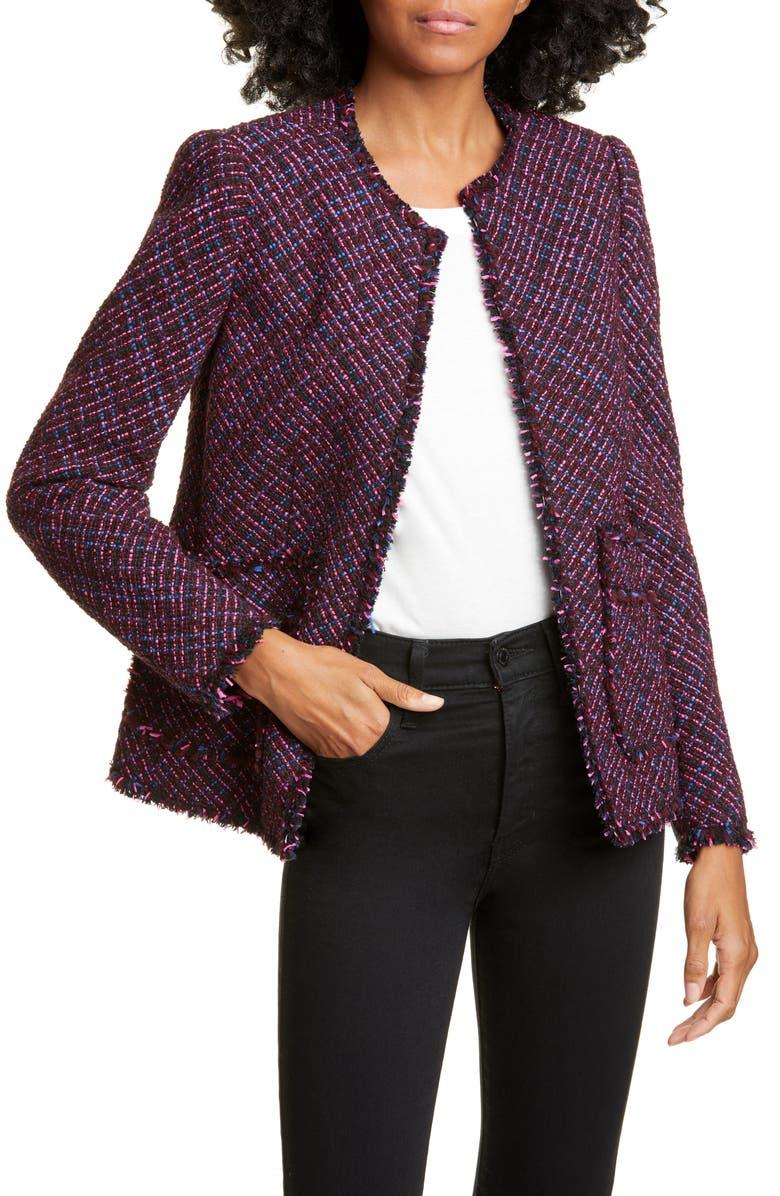 REBECCA TAYLOR Fringe Detail Cotton & Wool Tweed Jacket, Main, color, PLUM COMBO