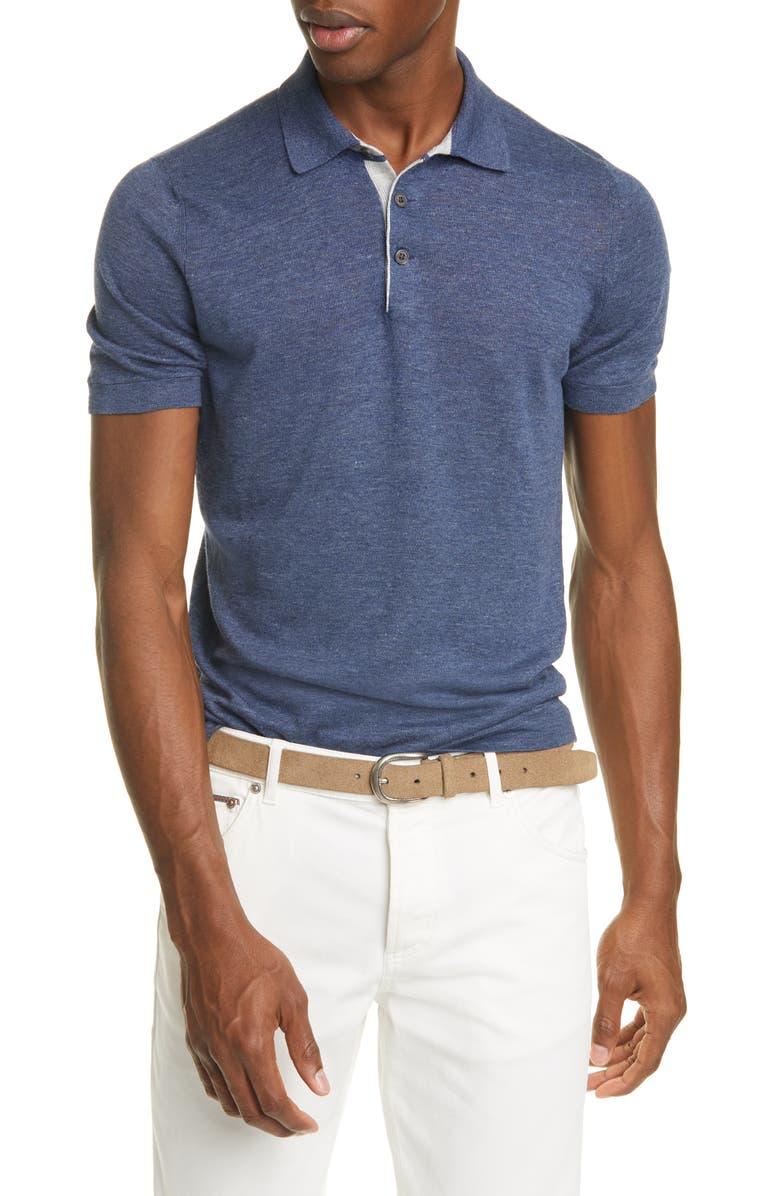 BRUNELLO CUCINELLI Linen & Cotton Polo Shirt, Main, color, 400