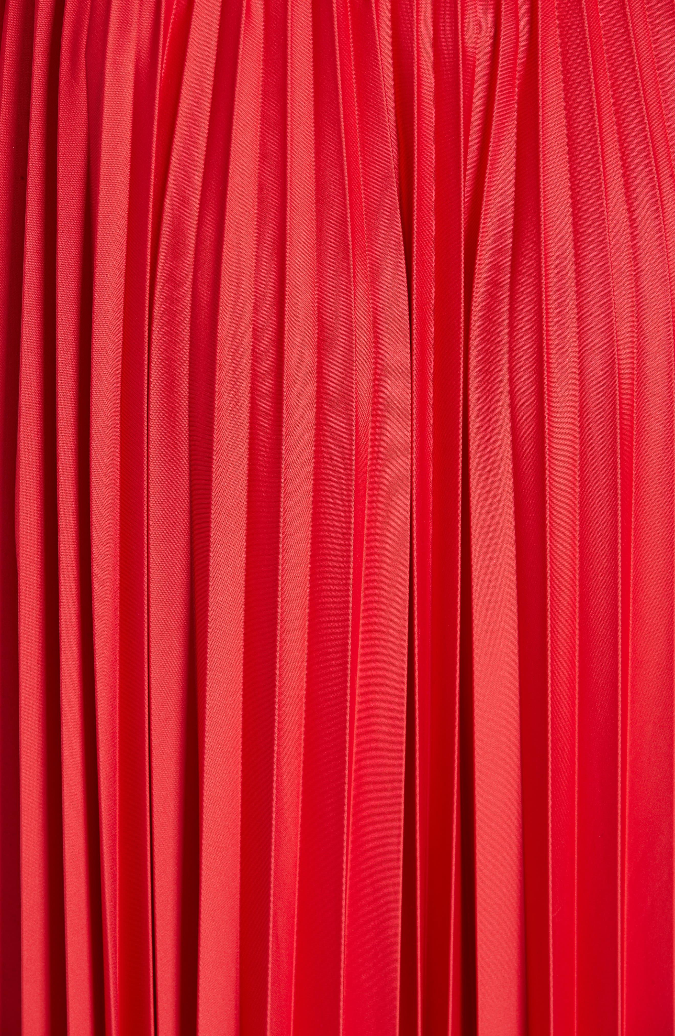 ,                             Colorblock Pleated Skirt,                             Alternate thumbnail 5, color,                             MEDIUM RED