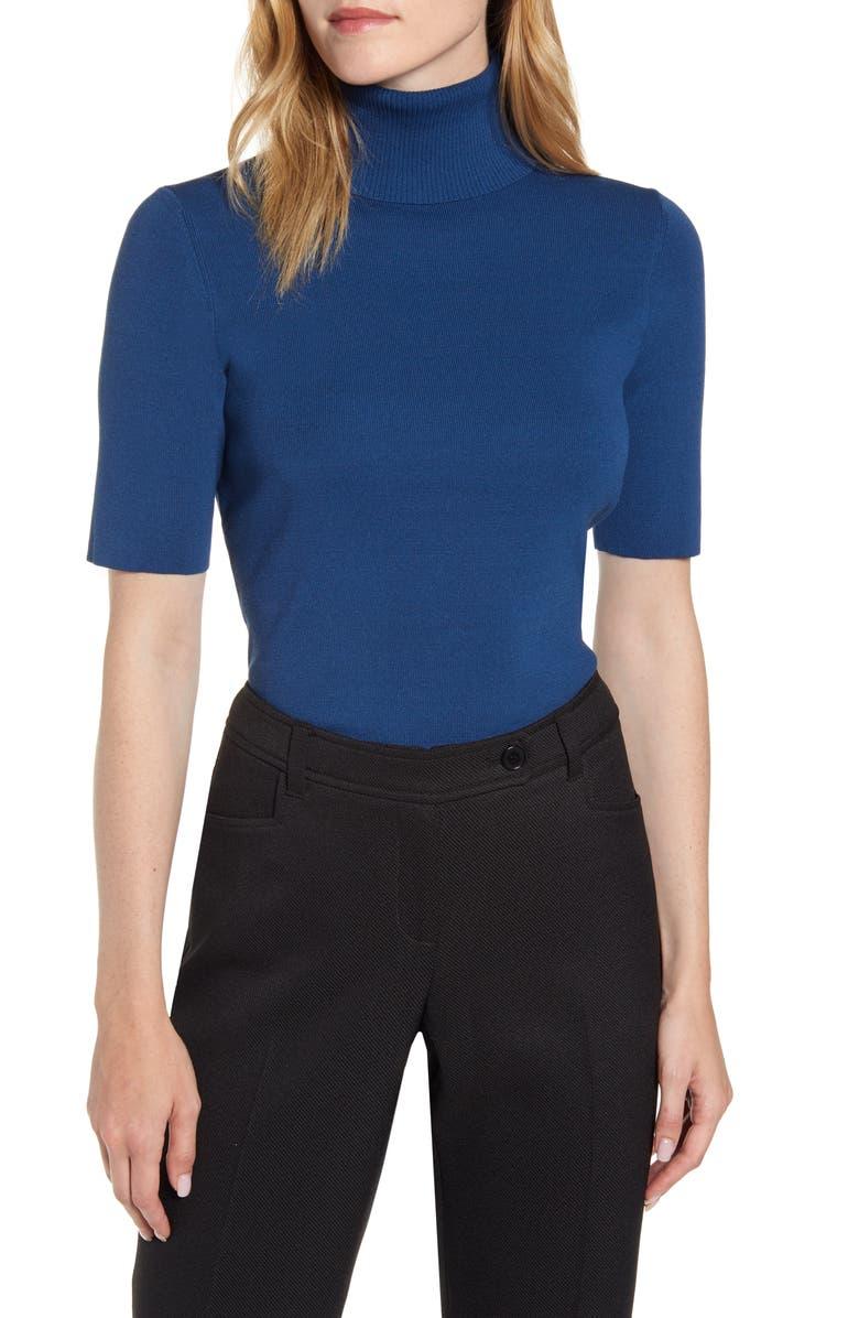 ANNE KLEIN Short Sleeve Turtleneck Sweater, Main, color, SPRUCE