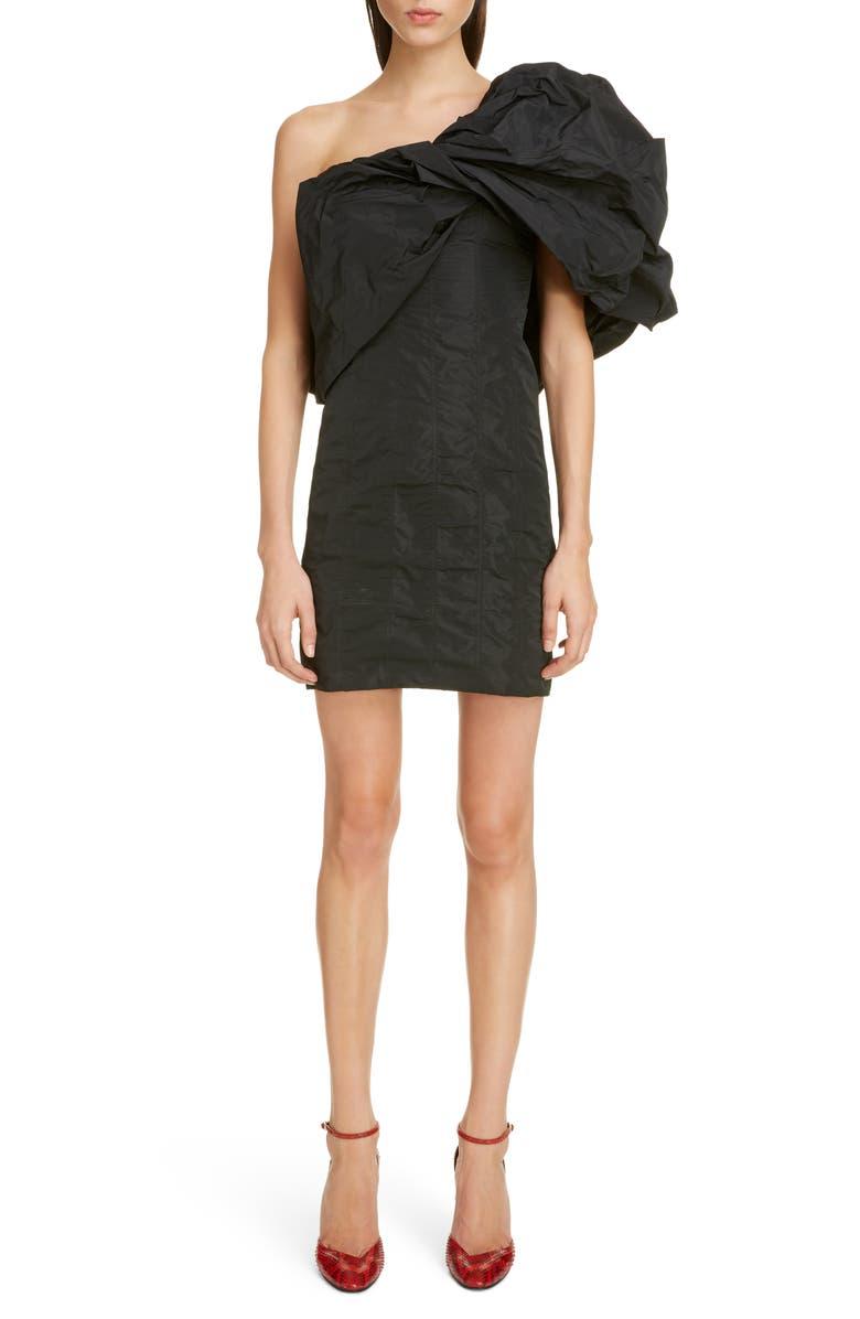 GIVENCHY Satin Taffeta One-Shoulder Minidress, Main, color, BLACK