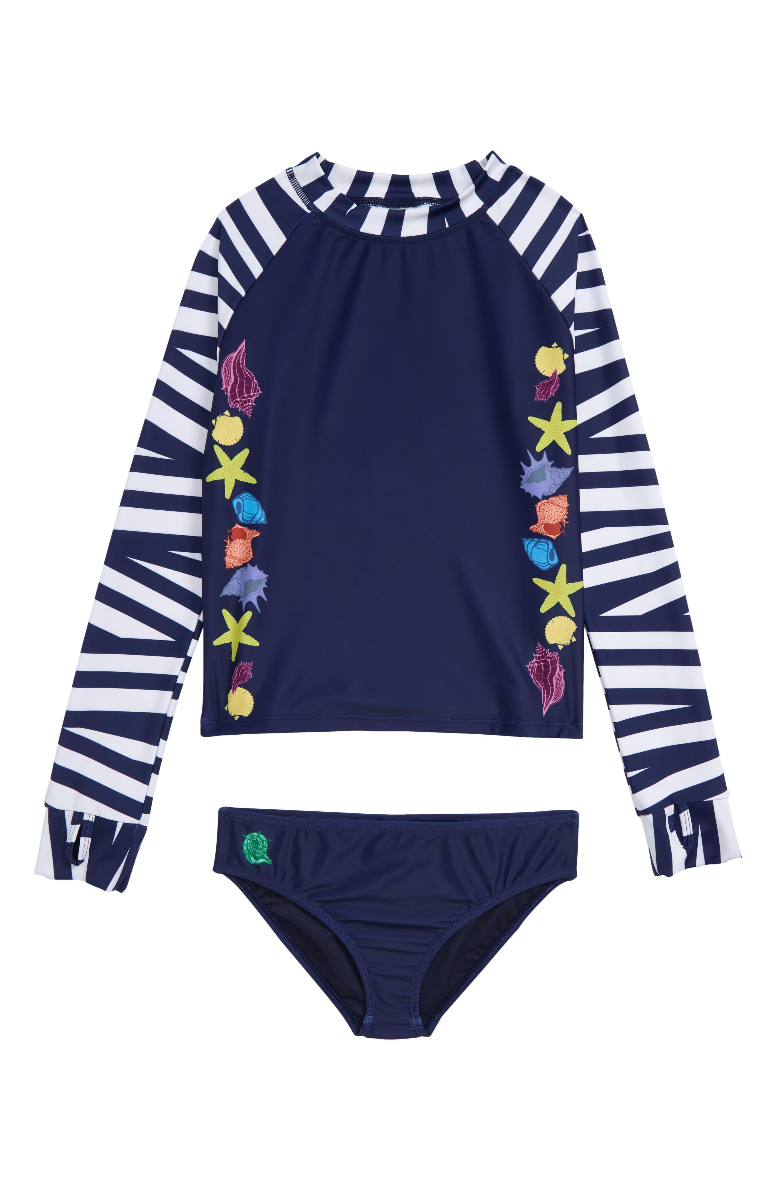 ,                             Evelyn Two-Piece Rashguard Swimsuit,                             Main thumbnail 1, color,                             BLUE