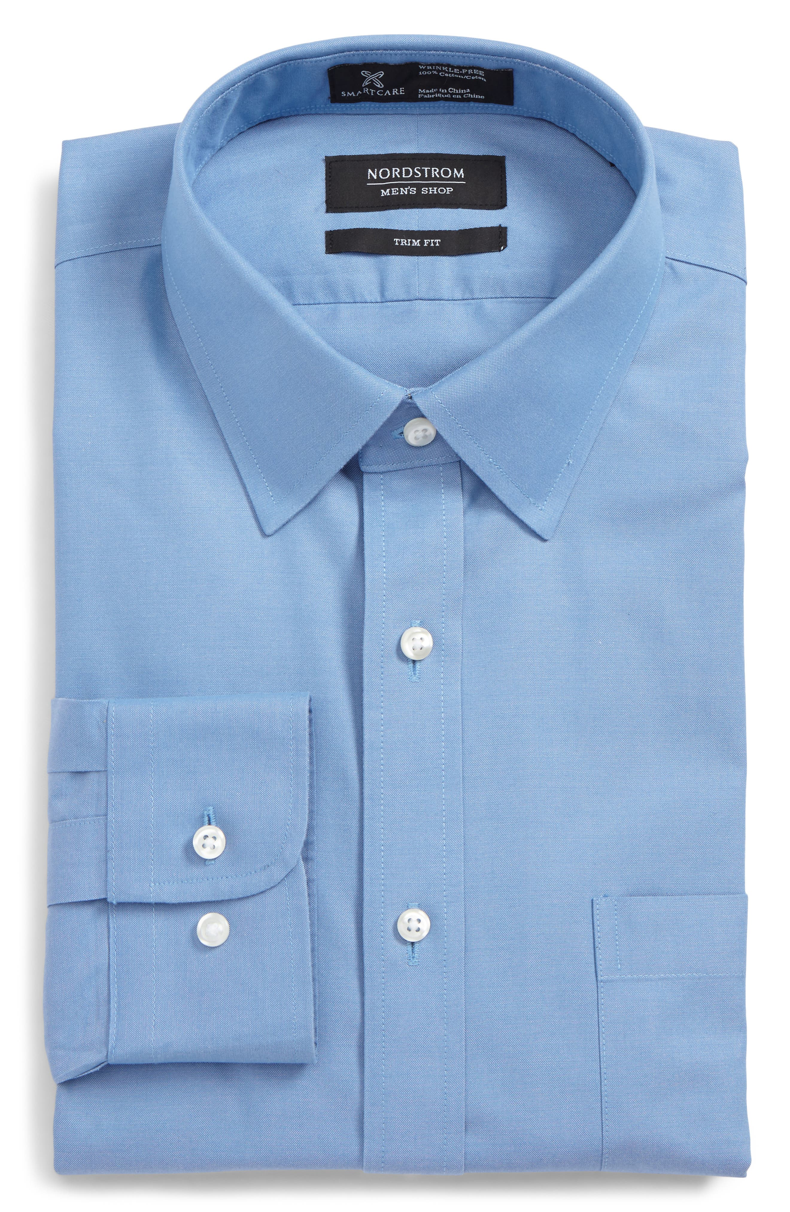 Nordstrom Shop Smartcare(TM) Trim Fit Solid Dress Shirt, 5.5 34/35 - Blue