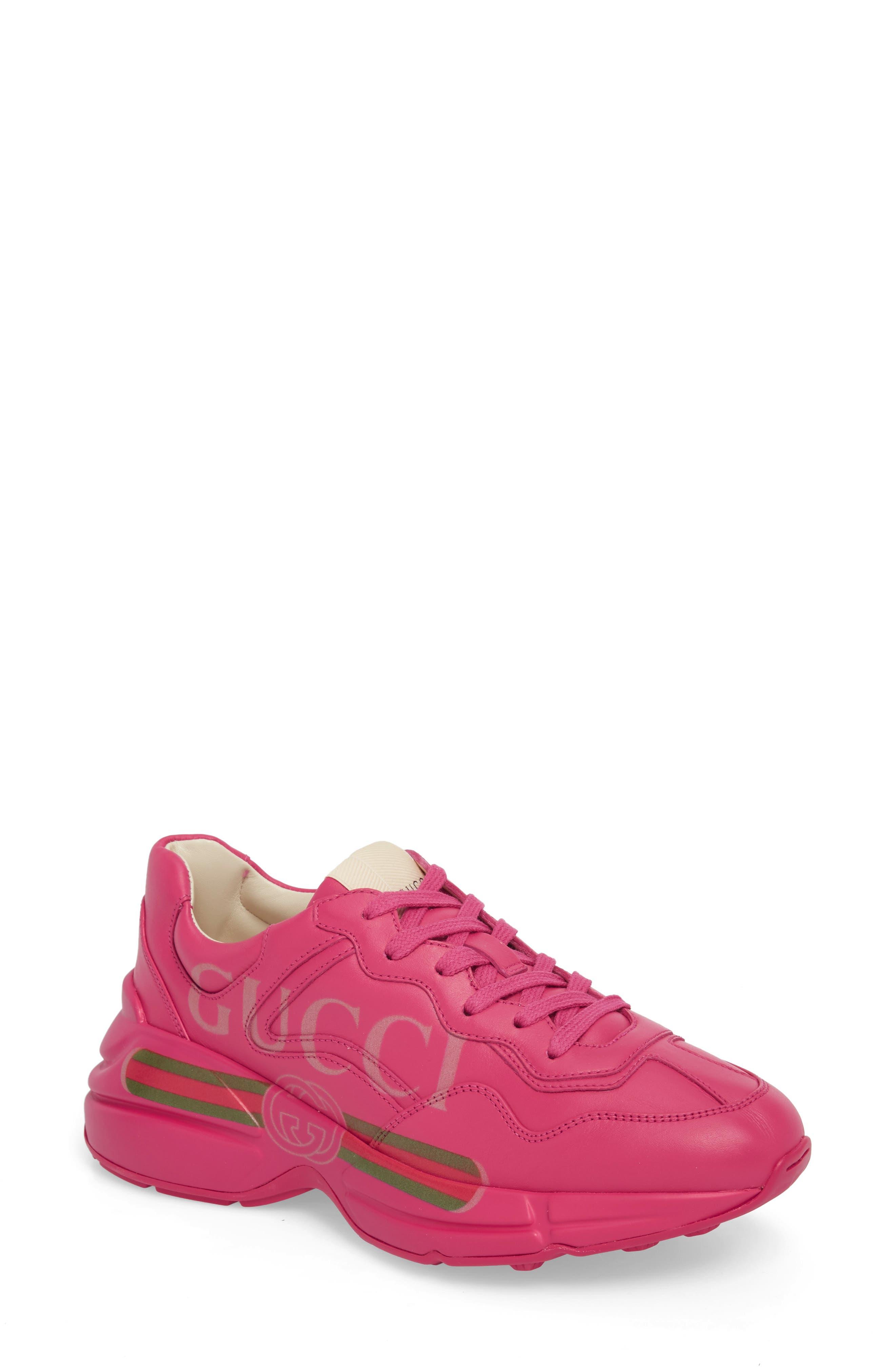 Gucci Rhyton Logo Sneaker, Pink