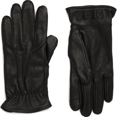 UGG Three-Point Leather Tech Gloves, Black