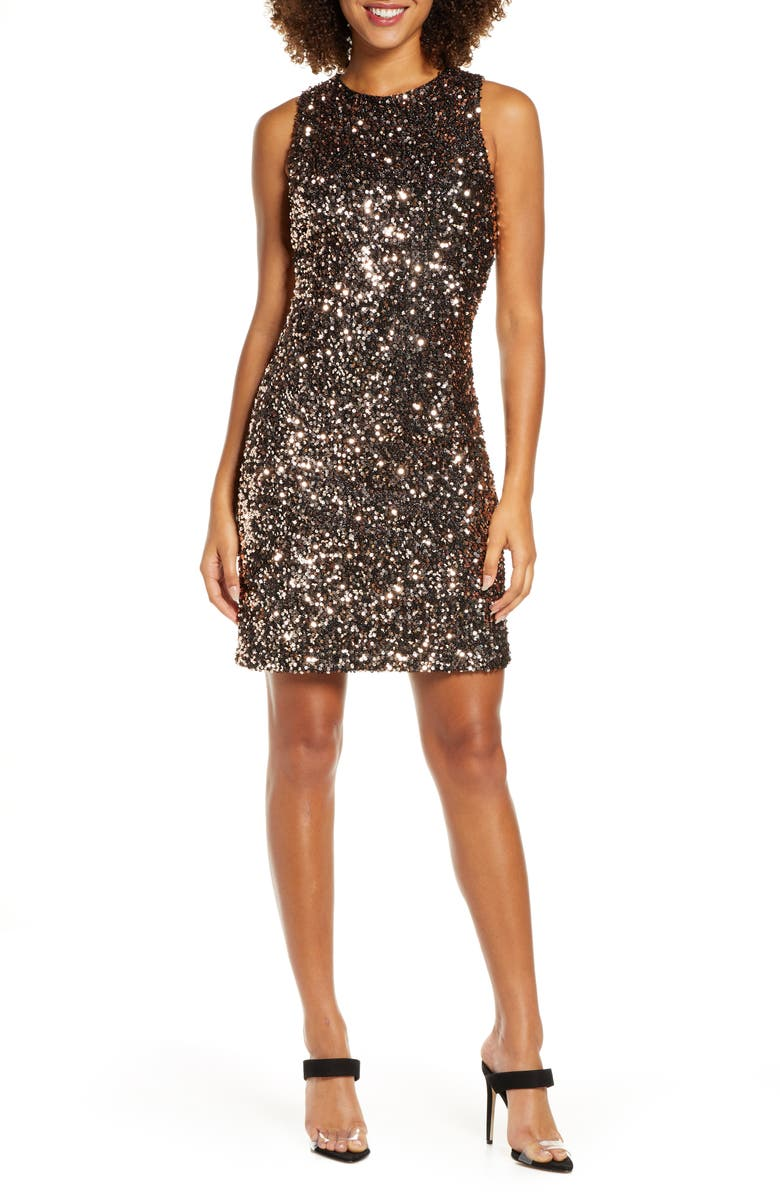 SAM EDELMAN Sequin Sleeveless Shift Dress, Main, color, 716