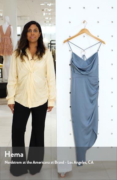 Asymmetrical Cowl Neck Satin Dress, sales video thumbnail