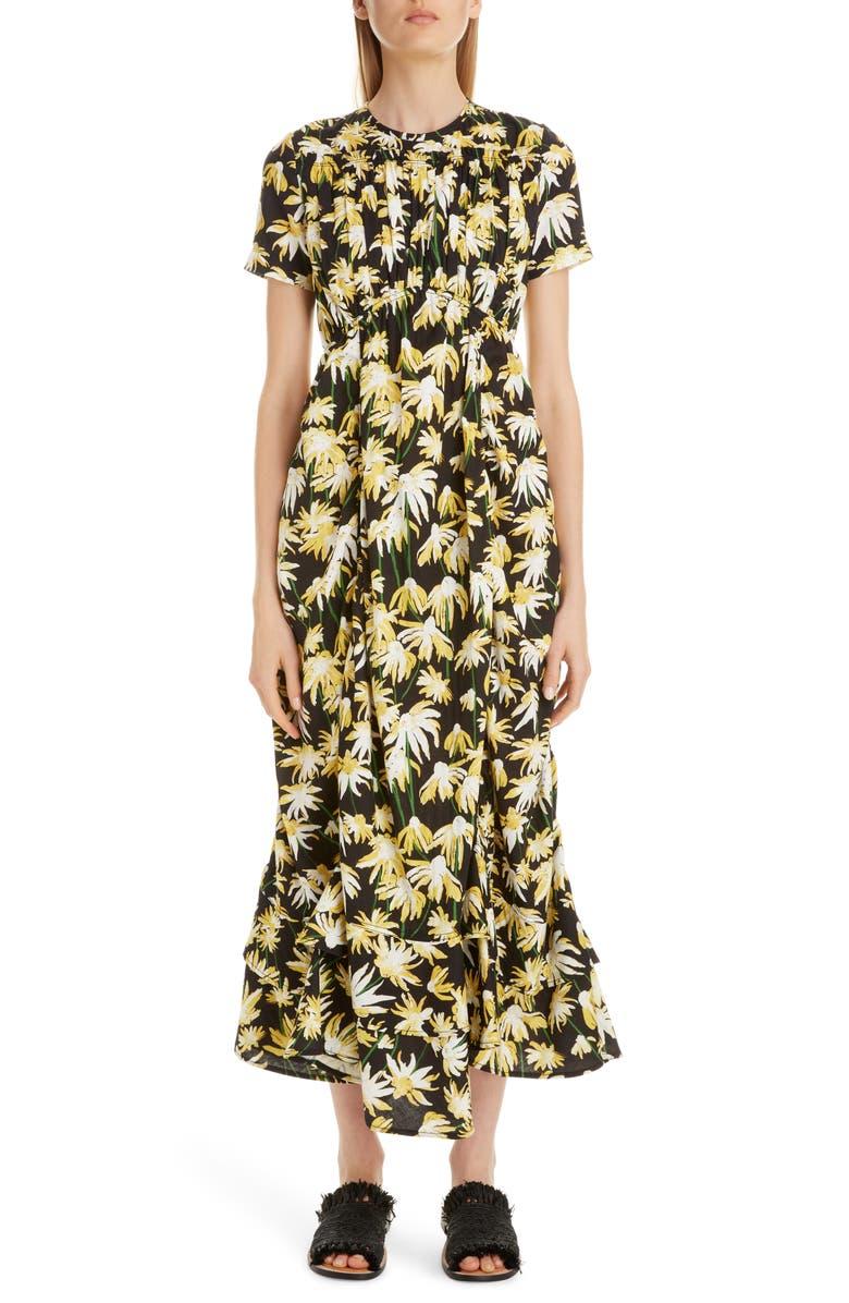 LOEWE Daisy Print Gathered Cotton Midi Dress, Main, color, BLACK/ YELLOW