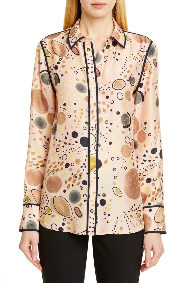 LAFAYETTE 148 NEW YORK Scottie Print Silk Shirt, Main, color, 250