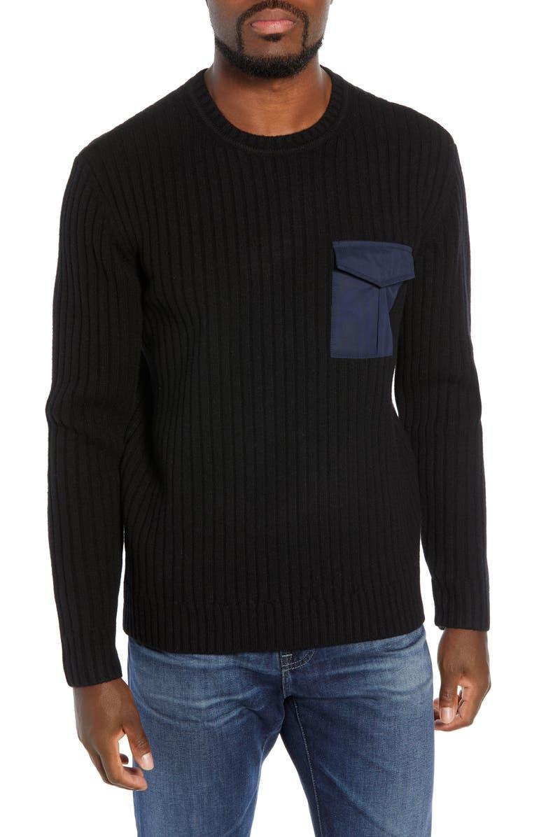 AG Delta Slim Fit Wool Blend Sweater, Main, color, TRUE BLACK