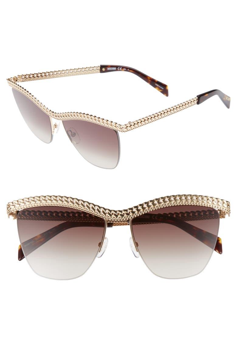 MOSCHINO 57mm Rimless Metal Bar Polarized Sunglasses, Main, color, GOLD HAVANA