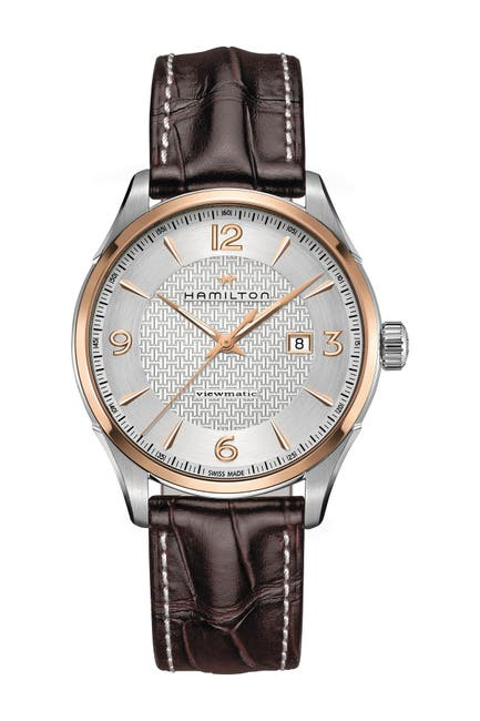 Image of Hamilton Men's Viewmatic Croc Embossed Leather Strap Watch, 44mm