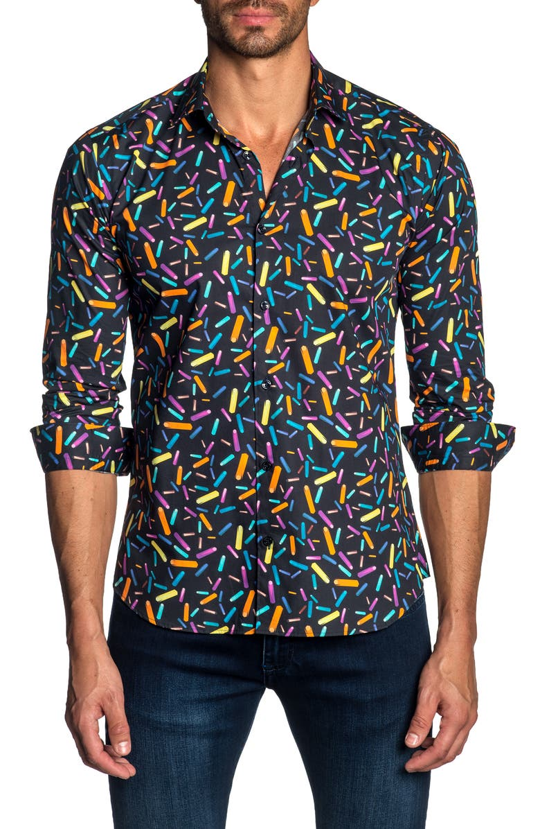 JARED LANG Trim Fit Button-Up Sport Shirt, Main, color, 450
