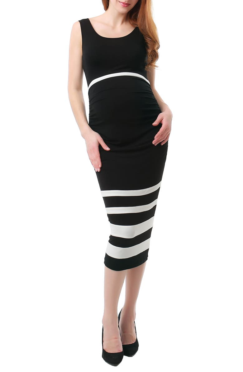 KIMI AND KAI Miranda Colorblock Maternity Body-Con Dress, Main, color, BLACK/ WHITE