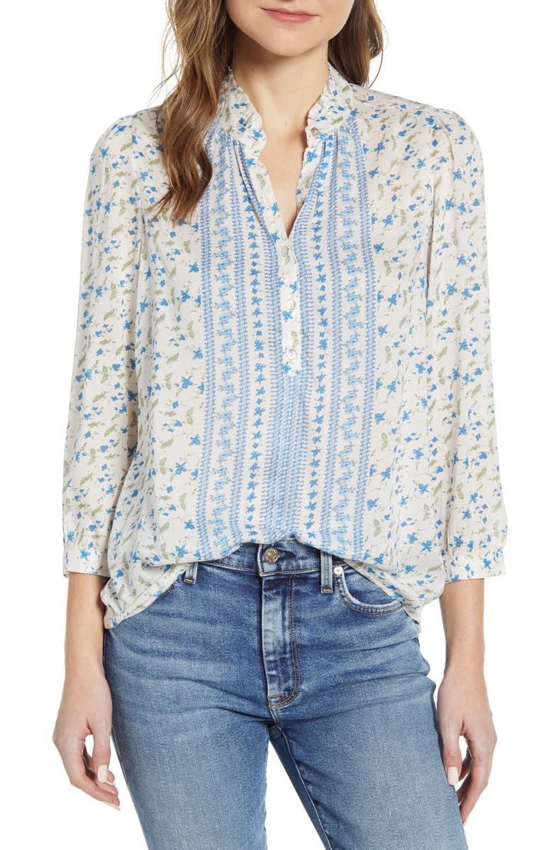 LUCKY BRAND Megan Floral Popover Shirt, Main, color, 250
